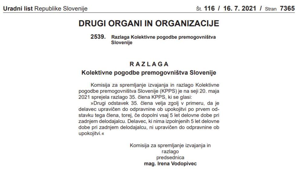 Razlaga Kolektivne pogodbe premogovništva Slovenije (KPPS)